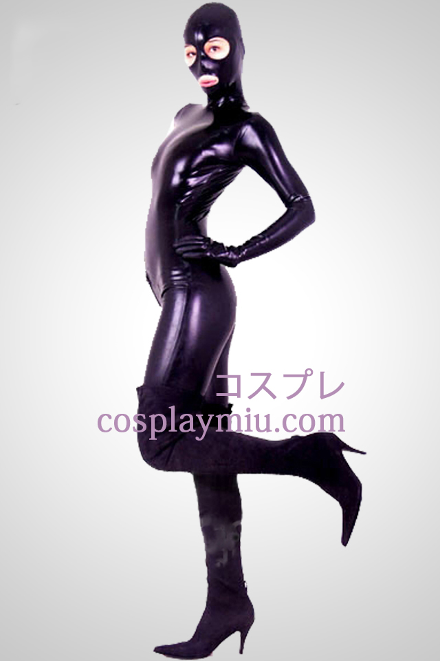 Black Open Eyes And Mouth Shiny Metallic Zentai Suit