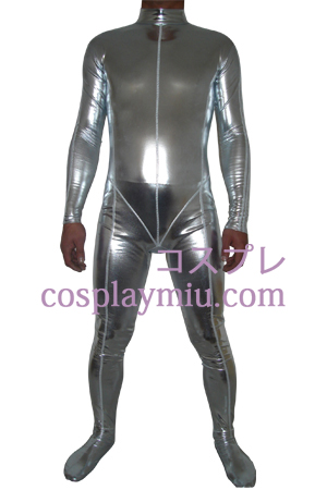 Silver Shiny Metallic Zentai Suit