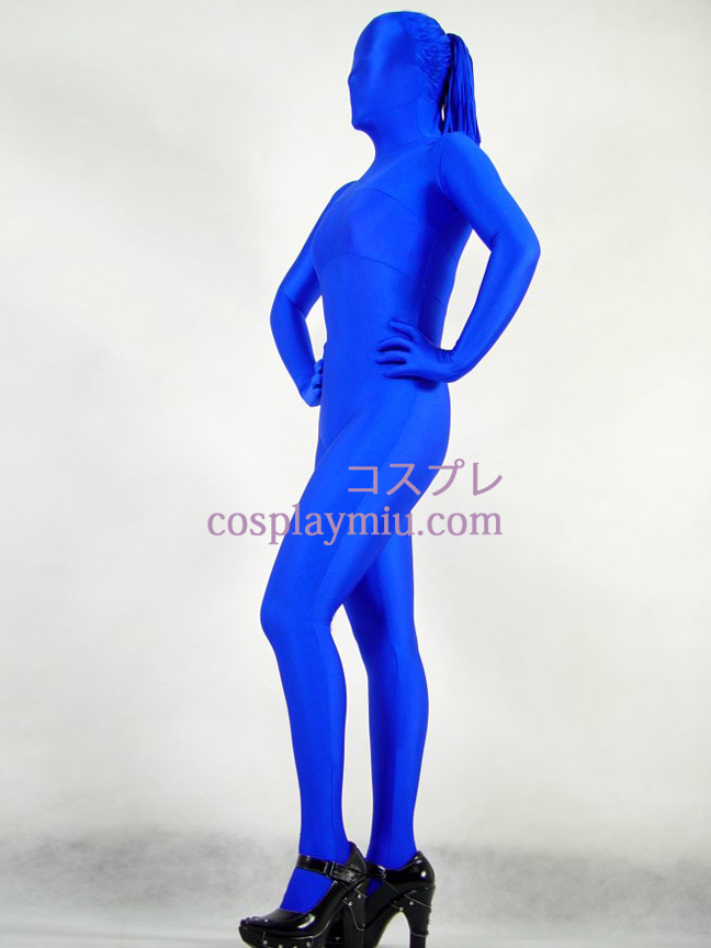 Blue Lycra Spanex Female Zentai With Hair