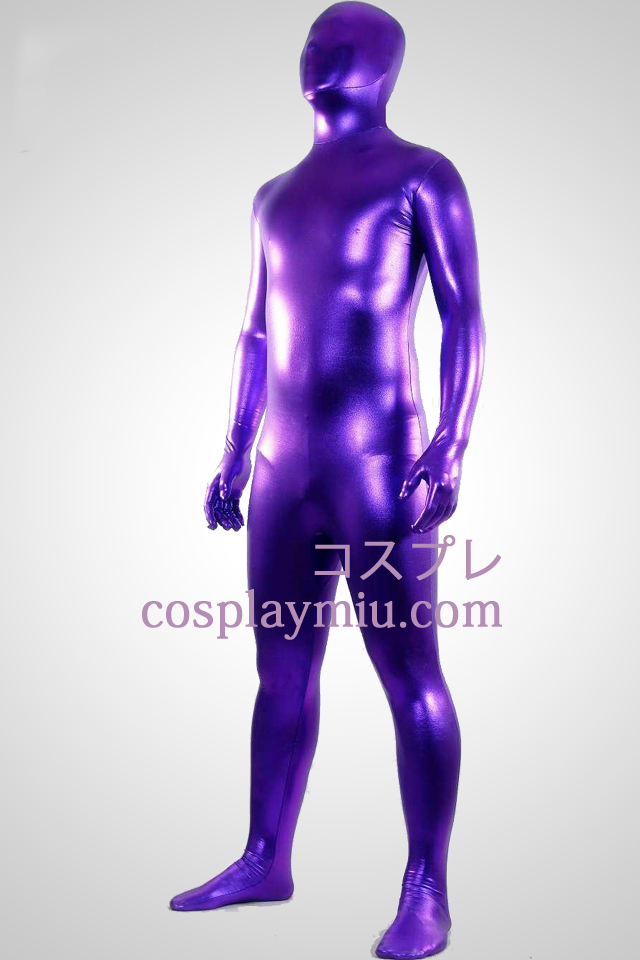 Purple Shiny Metallic Zentai Suit