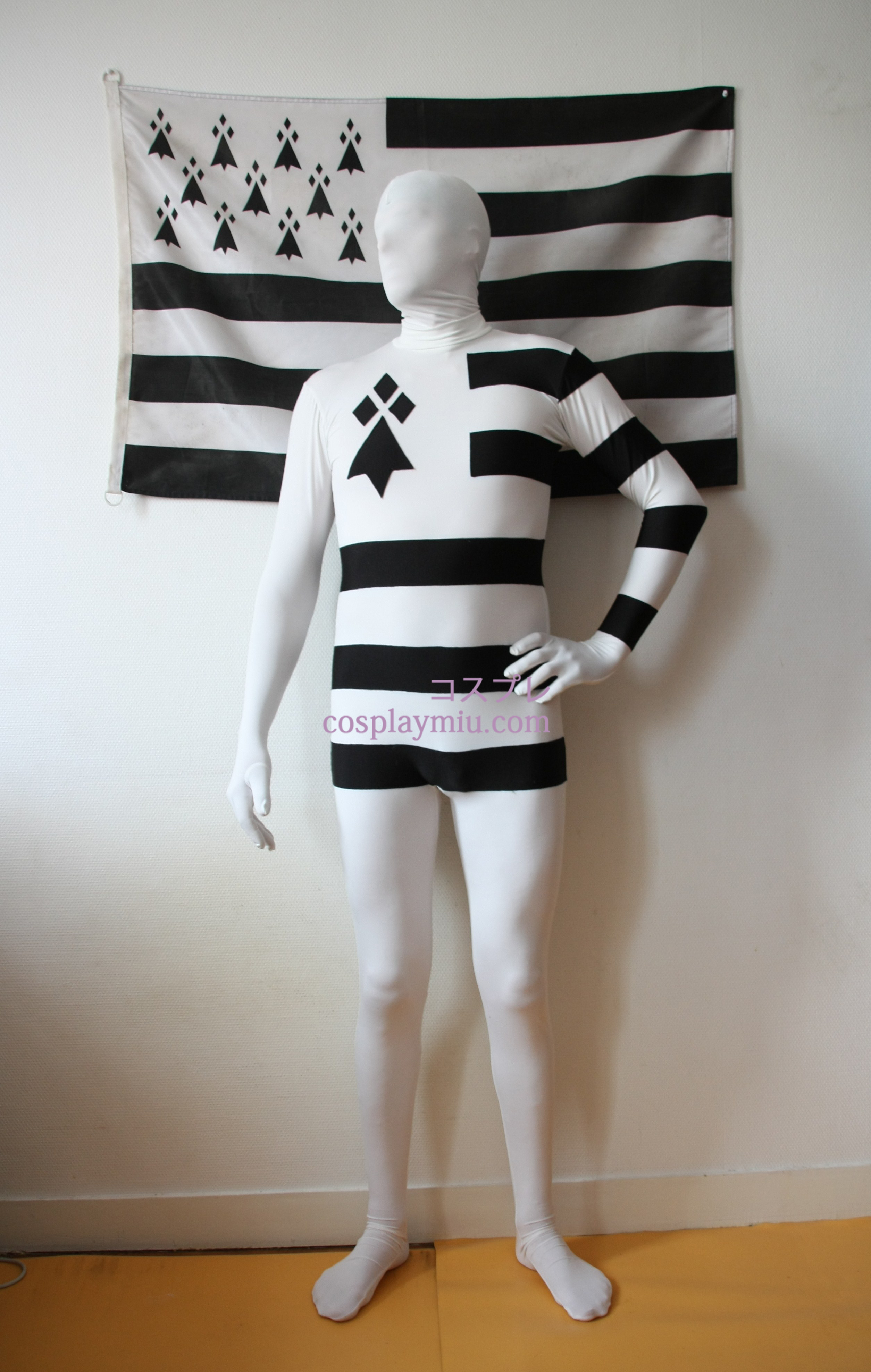 France Bretagne White Black Stripes Spandex Zentai Suit
