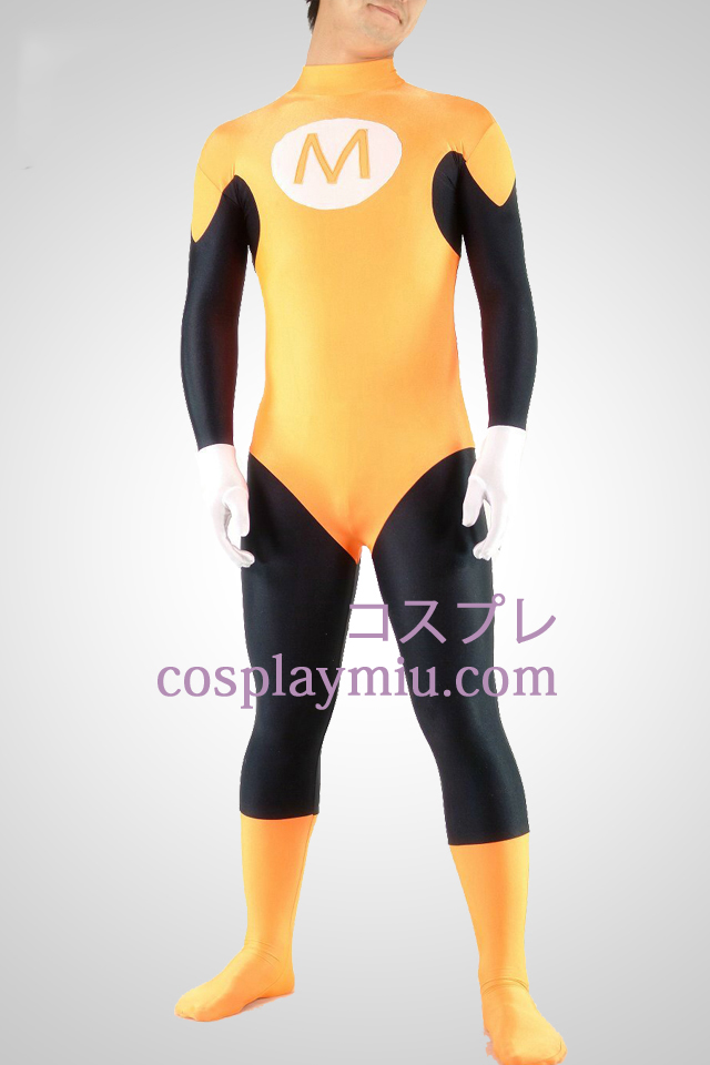 Yellow And Black Lycra Spandex Superhero Unisex Catsuit