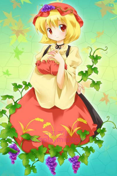 Touhou Project Aki Minoriko Cute Short Blond Bottom Cosplay Wig